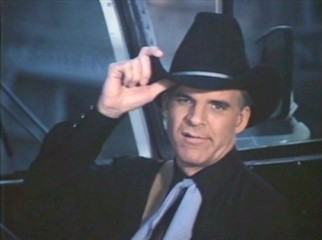 "Steve Martin gives an insincere tip of the cowboy hat at the end of his wordless ""Freddie's Lilt"" music video."