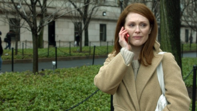 "For her portrayal of an Alzheimer's disease-addled college professor in ""Still Alice"", Julianne Moore is expected to win a Golden Globe and an Oscar."