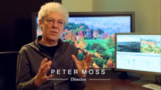 Director Peter Moss discusses Three Pines in front of the real star of the movie: lovely fall foliage.