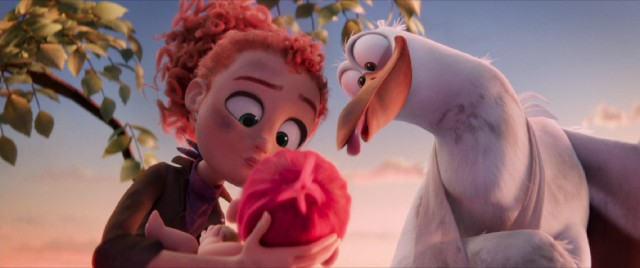 In Storks, Orphan Tulip and Junior have a pink-haired baby they have to deliver the old-fashioned way.