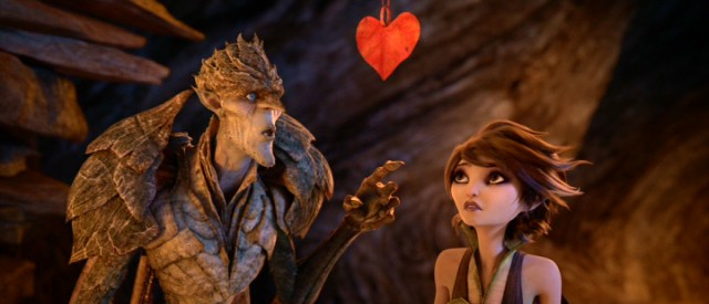 "A paper heart hangs over the heads of the Bog King and Marianne, the beauty and beast couple of George Lucas' ""Strange Magic."""