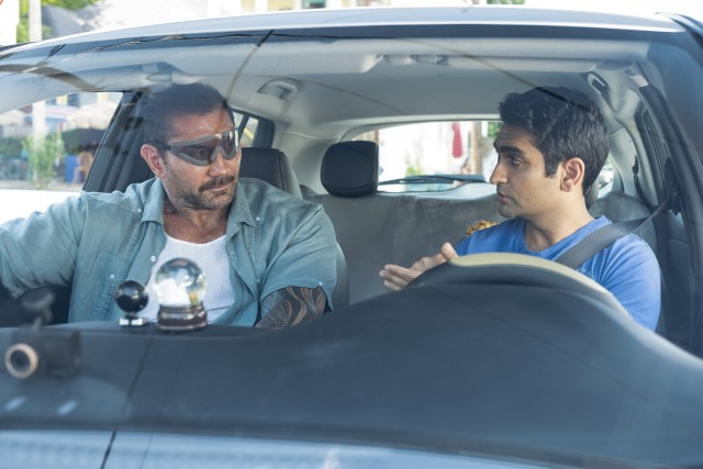 "In the action comedy ""Stuber"", a cop who just had Lasik (Dave Bautista) needs an Uber driver named Stu (Kumail Nanjiani) to get him through a dangerous day."