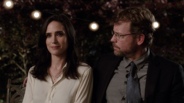 Bill (Greg Kinnear) is surprised that Erica (Jennifer Connelly) shows up for her estranged daughter's publishing party.