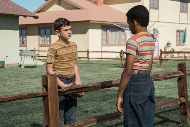 Nicky Lodge (Noah Jupe) bonds with Andy Mayers (Tony Espinosa), the son of the just-moved-in African-American family the rest of Suburbicon has not warmed to.
