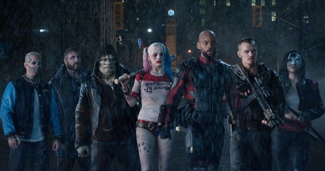 The Suicide Squad, from left to right: El Diablo (Jay Hernandez), Boomerang (Jai Courtney), Killer Croc (Adewale Akinnuoye-Agbaje), Harley Quinn (Margot Robbie), Deadshot (Will Smith), Rick Flag (Joel Kinnaman), and Katana (Karen Fukuhara).