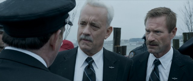 Sully (Tom Hanks) and Skiles (Aaron Eckhart) maintain their mustaches under fire.