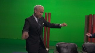 "Tom Hanks throws a spontaneous Sully dance party amidst a sea of green screen in ""Neck Deep in the Hudson."""