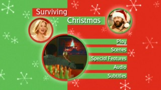 The green and red Surviving Christmas DVD main menu tries to be festive.