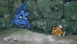 Even in fish form underwater, Merlin and Wart maintain their tutor-pupil relationship.