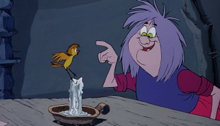 Madam Mim demonstrates her own magic powers to Wart (in sparrow form).