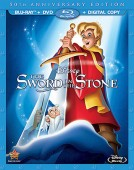 The Sword in the Stone: 50th Anniversary Edition Blu-ray + DVD + Digital Copy combo pack cover art -- click to buy from Amazon.com