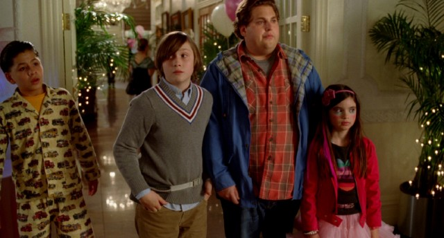 "In ""The Sitter"", reluctant babysitter Noah Griffith (Jonah Hill) takes his three young wards (Kevin Hernandez, Max Records, and Landry Bender) on an unforgettable night of big city adventure."