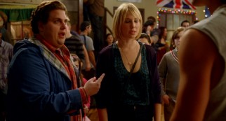At a party, Noah (Jonah Hill) defends his girlfriend (Ari Graynor) in front of the ex she still has feelings for.