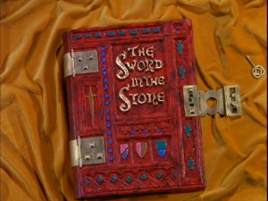 "Disney used to open certain animated features with a live-action book, as seen here on ""The Sword in the Stone."""