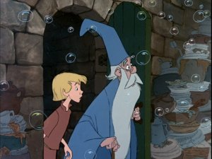 Arthur (Wart) and Merlin take a look at the bubble room.