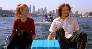Having taken extreme measures to get him out of detention, Katarina (Julia Stiles) and Peter (Heath Ledger) enjoy an afternoon pedal boat ride on Seattle's Puget Sound.