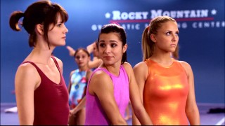 "Emily (Chelsea Hobbs, left), the new gymnast at the Rock, is welcomed by Kaylie (Josie Loren) but shunned by Lauren (Cassie Scerbo) in the included ""Make It or Break It"" pilot episode."
