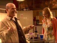 Larry Miller and guest star Wendi McLendon-Covey crack up in the Bloopers reel.