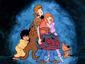 "Flim Flam, Scooby-Doo, Shaggy, Daphne, and Scrappy-Doo appear with the Chest of Demons in the ""13 Ghosts"" opening title sequence."