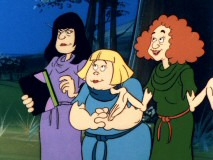 "The homely, inept Brewster Sisters are given a spell book and directions by Marcella in ""When You Witch Upon a Star."""