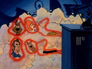 "Two by two, the stars of ""The 13 Ghosts of Scooby Doo"" get sucked into a television in the show's entertaining fifth episode."