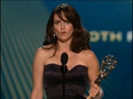 "Tina Fey accepts an Emmy for ""30 Rock"", her speech preserved for posterity on the third season DVD release."