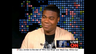 "Tracy Jordan (Tracy Morgan) sets New York City into a panic after his absurd commentary on CNN's ""Larry King Live."""