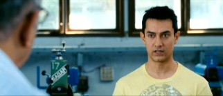 "Not one to defer to authority, Rancho (Aamir Khan) challenges his engineering professor's wordy definition of ""machine."""