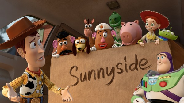 Woody is baffled to see his friends okay with being in a box destined for Sunnyside Day Care Center.