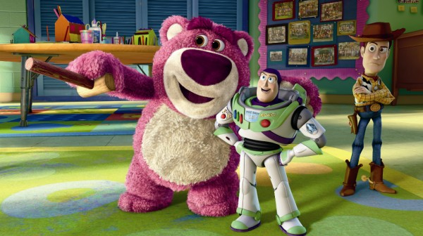 Lots-o'-Huggin' Bear shows Buzz Lightyear around Sunnyside, with which Woody is less than impressed.