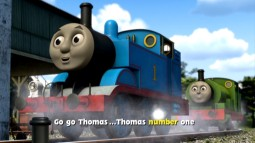 "Thanks to onscreen lyrics and a bouncing steam ball, you too can sing along with Sam Blewitt's closing anthem for the film, ""Go, Go Thomas."""