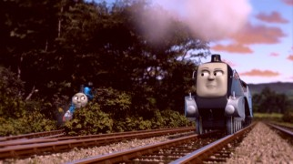 Thomas tries to stay quiet in the bushes while a suspicious Spencer looks around.