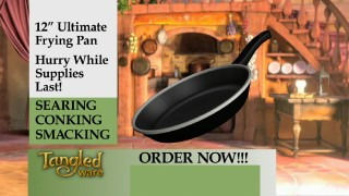 "This infomercial for Rapunzel's dual-purpose frying pan is one of nine ""Tangled"" teasers included on the Blu-ray."