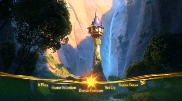 Simple yet satisfying, the DVD's main menu (and Blu-ray's only) supplies a tranquil view of Rapunzel's tower.