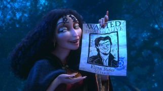 Mother Gothel lures some cooperation with a wanted poster that doesn't get Flynn's nose right.