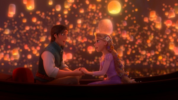 "Eugene Fitzherbert (a.k.a. Flynn Rider) and Rapunzel share a romantic boat ride under the light of sky lanterns while singing the Oscar-nominated duet ""I See the Light."""