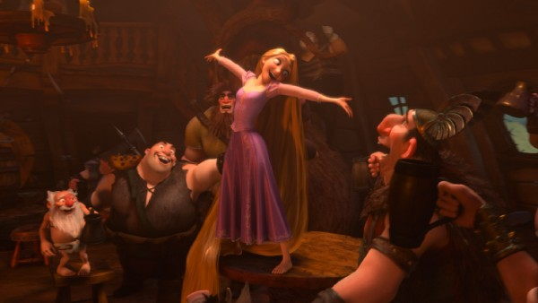 Rapunzel joins in the lively musical dream-sharing of the brutish vikings at The Snuggly Duckling pub.