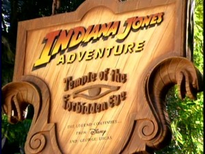 The title sign for Indiana Jones Adventure: Temple of the Forbidden Eye, the 1995-opened attraction that Baxter considers among his greatest professional achievements.