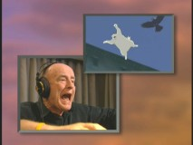 "This split-screen from ""Behind the Microphone"" illustrates Peter Boyle recording the voice of Muta and the clip from the film."