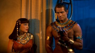 Nefretiri (Anne Baxter) loves Moses (Charlton Heston) enough to kill, but not enough to discard the piece of cloth that establishes his Hebrew heritage.