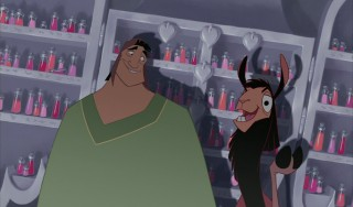 Pacha and Kuzco are relieved Yzma only wants to show them a dagger.