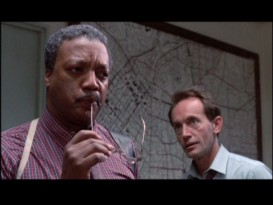 "Some deleted moments of veteran police lieutenant Ed Traxler (Paul Winfield), seen here with detective Hal Yukovich (Lance Henriksen), feature among the seven ""Terminated Scenes."""