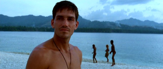 Private Witt (Jim Caviezel) admires the sights of the Pacific island where he's taking his latest AWOL.