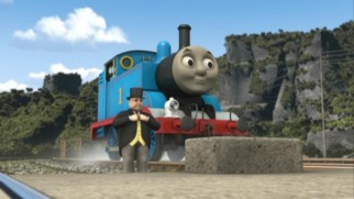 Sir Topham Hatt proudly announces the construction of the Sodor Search and Rescue Center to an enthusiastic crowd including Thomas the Tank Engine.