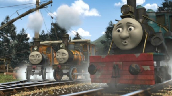 Logging Locos Bash, Dash, and Ferdinand get a chuckle out of Thomas' pretentious and overly confident ways.