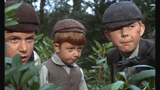 Mischeivous boys act a bit brave by watching the 'witch' from the safety of the bushes.