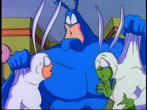 The Tick has trouble distinguishing between the real Arthur and the clone. Blame it on his cold.