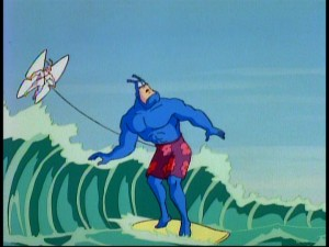 The Tick hangs ten while Arthur glides, on the pair's mission in Pokoponesia Island.