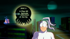Arthur appears on Disc 2's Main Menu, while The Tick's mind flies by.