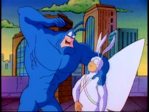 The Tick imparts words of semi-wisdom to sidekick and best chum Arthur in his customary animated fashion.